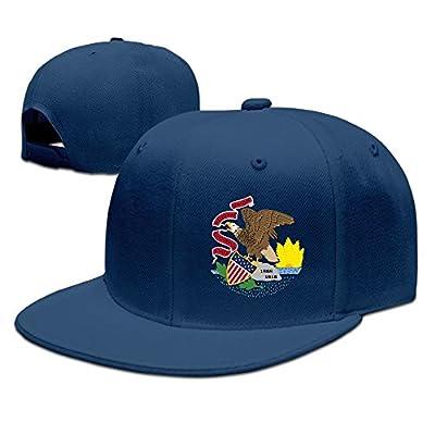 Illinois Flag Element Design Solid Flat Bill Hip Hop Snapback Baseball Cap Unisex sunbonnet Hat.