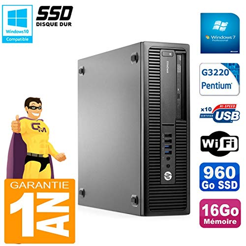 HP EliteDesk 800 G1 SFF Intel G3220 16GB Disco SSD Grabador DVD ...