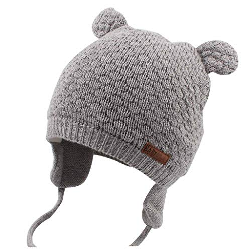 DUOYEREE Baby Winter Hat Earflap Cotton Lining Knit Beanie Cap for Toddler Girl Boy (12-18 Month, Grey)