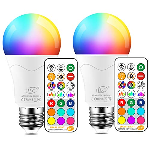Color Light Bulbs (iLC LED Light Bulb 85W Equivalent, Color Changing Light Bulbs with Remote Control RGB 6 Modes, Timing, Sync, Dimmable E26 Screw Base (2)
