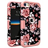 iPod Touch 5 Case,iPod Touch 6 Case,OBBCase Three Layer Heavy Duty Hybrid Sturdy Armor High Impact Resistant Protective Cover Case For Apple iPod 5/Apple iPod 6 Rose Flower/Rose Gold