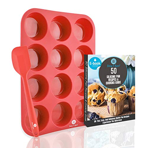 Baking & Beyond Premium 12 Cup Silicone Muffin Pan and Cupcake Pans w/Spatula- 12 Cups Muffins Tray, Cupcakes Pan | Silicone Muffin Molds, Non Stick Baking Pan | Recipe E-book by B&B | Oven Safe
