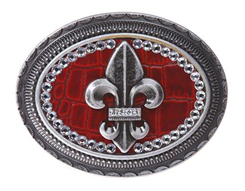 Lis Rhinestone Belt Buckle - Oval Rhinestone Fleur De Lis with Croco Leather Top Belt Buckle Color: Red