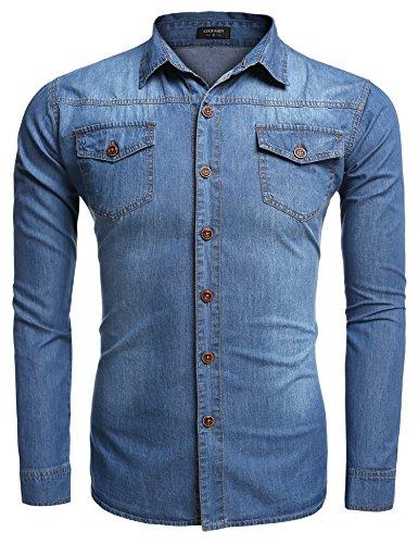 Aulei Herren Jeanshemd vintage slim fit aufwendiges Denim Shirt Langarm used look