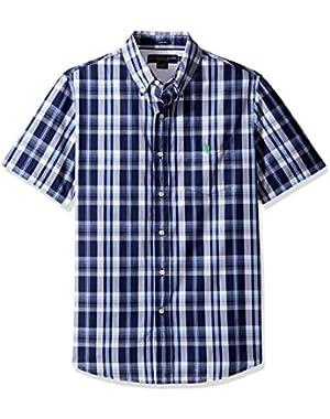 Men's Striped, Plaid Or Print Single Pocket Slim Fit Sport Shirt