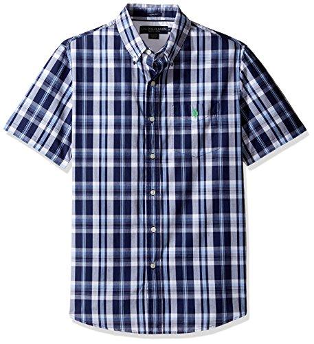(U.S. Polo Assn. Men's Striped, Plaid or Print Single Pocket Slim Fit Sport Shirt, 9721-Classic Navy, L)