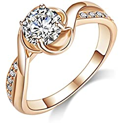 Acefeel Fashion Gold Cubic Zirconia Promise Engagement Valentine's Day gift