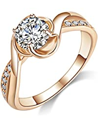 Acefeel Cheap Cubic Zirconia Promise Ring For Her Wedding Engagement Ring For Women Rose Gold Plated