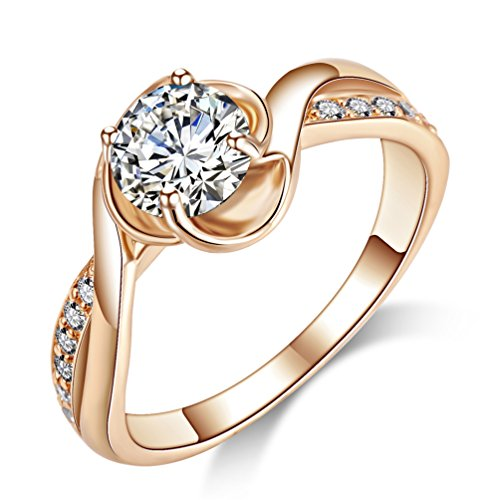 (Acefeel Cubic Zirconia Promise Ring for Her Wedding Engagement Ring for Women Rose Gold Plated)