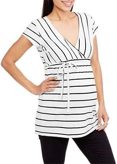 Mitlfuny Shirt Camiseta Premamá Estampado bebé asomándose para Mujer Camisa de Maternidad a Rayas de Manga Corta para Mujeres Embarazadas: Amazon.es: Ropa y accesorios