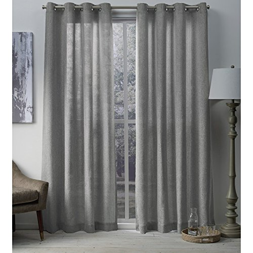 Exclusive Home Curtains Sparkles Heavyweight Metallic Fleck Textured Linen Window Curtain Panel Pair with Grommet Top, 54x108, Dove Grey, 2 Piece