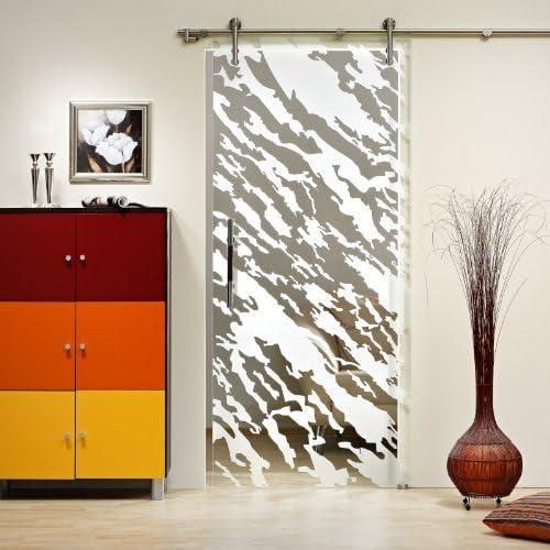 Correderas de cristal de la puerta ST 995 - 1025 x 2050 x 8 mm a la derecha, 8 mm de cristal de seguridad, cristal y decoración, barra y sistema de guías