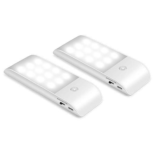 Luz Nocturna, Movaty Luces LED Armario con Sensor Movimiento, Lámpara Nocturna Recargable con 3
