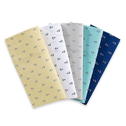 300tc Anchor Print 100% Cotton Sheet Set by Coastal Life (Full, White/Navy Blue) ()