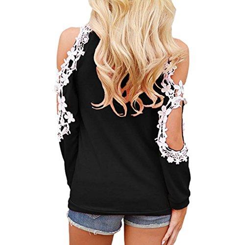 Camicia Donna Donna Batwing Nero Felpe off Oversized con Corte Shirt Up Donna Posteriore Spalla Lace di T Camicetta Maniche Yesmile OEIxH64xq