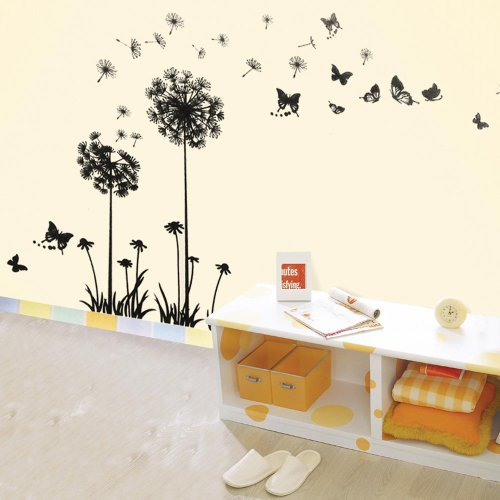 Walplus Huge Dandelion Flower Wall Stickers - Office Home Decoration, 60cm x 120cm, PVC, Transparent Borders, Removable, Self-Adhesive, Black