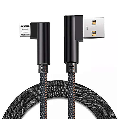 (New Elbow Micro USB Cable Denim Braided Double 90 Degree Android USB 2.0 High Speed Data Sync Charger Cord Quick Charging Cable Compatible with Android Smartphones and Tablets (Black))
