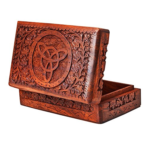 Handmade Decorative Wooden Jewelry Box Jewelry Organizer Keepsake Box Treasure Chest Trinket Holder Watch Box Storage Box 8 x 5 Inches Birthday Housewarming Gift Ideas For Men & Women by The Great Indian Bazaar