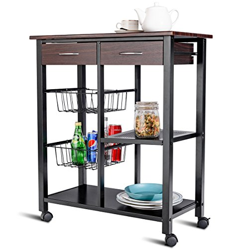 CHEFJOY Rolling Kitchen Cart Trolley Storage Island Utility Cart on Wheels Home Restaurant Dining Serving Cart with Drawers Baskets Shelf by CHEFJOY