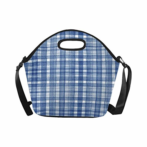 InterestPrint Watercolor Latticework Plaid, Elegant Blue Gingham Check Lunchbox Lunch Bag Tote Insulated Neoprene Food Container Gourmet Tote Cooler with Shoulder Strap for Women Men ()