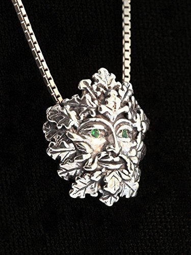 Green Man Pendant Silver with Tsavorite Eyes Necklace Leaf Man Charm by Marty Magic Jewelry