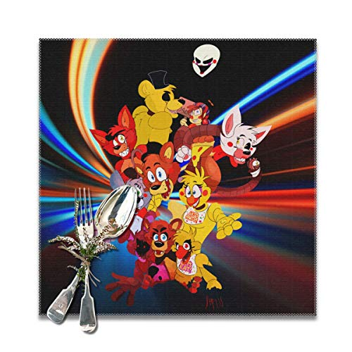 Rmoye Five Nights At Freddy's Party Time Heat Resistant Placemats Set Of 6 For Dining Table Washable Kitchen Table Mats 12x12 Inches