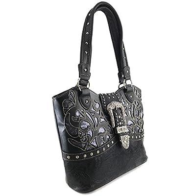 Justin West Gleaming Laser Cut Rhinestone Buckle Studded Concealed Carry Handbag Purse