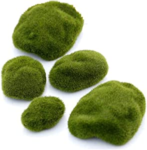 6 Pieces Artificial Moss Rocks Moss Stone Decorative Flocking Stone Faux Green Moss Covered Stones for Floral Arrangements Micro Landscape Decoration Accessories Fairy Gardens DIY Crafting(6CM/2.4)
