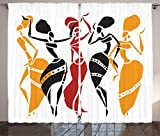 Cheap Ambesonne African Decorations Collection, African Lady Dancers Body Silhouettes in Motion Pose Exotic Characters Theme, Living Room Bedroom Curtain 2 Panels Set, 108 X 84 Inches, Black Yellow Red