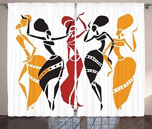Ambesonne African Decorations Collection, African Lady Dancers Body Silhouettes in Motion Pose Exotic Characters Theme, Living Room Bedroom Curtain 2 Panels Set, 108 X 84 Inches, Black Yellow Red ()