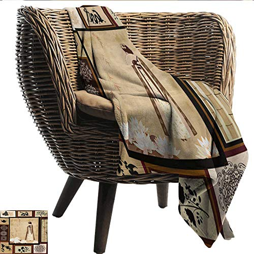 Hypoallergenic Blanket Japanese Girl in Traditional Dress and Cultural Patterns Ornaments Antique Eastern Collage Plush Throw Blanket W60 xL80 Sofa,Picnic,Camping,Beach,Everyday use