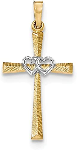 14K Two Tone Gold Heart Cross Pendant Charm Jewelry