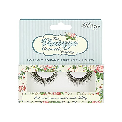 (The Vintage Cosmetic Company | Kitty Reusable Lashes | Synthetic False Strip - Latex Free Adhesive Included | Easy to Apply & Remove | Light weight & Comfortable | For Intense Sultry Look |11 mm)