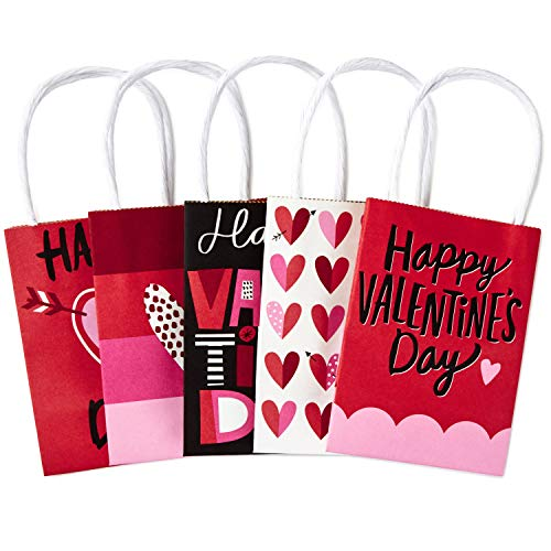 Hallmark Mini Paper Valentines Day Gift Bags Assortment, Valentine Hearts (Pack of -