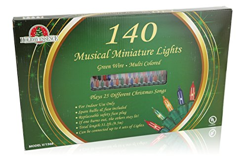 amazoncom holiday essence set of 140 indoor multi color musical christmas lights plays 25 classical holiday songs 8 function chaser green wire