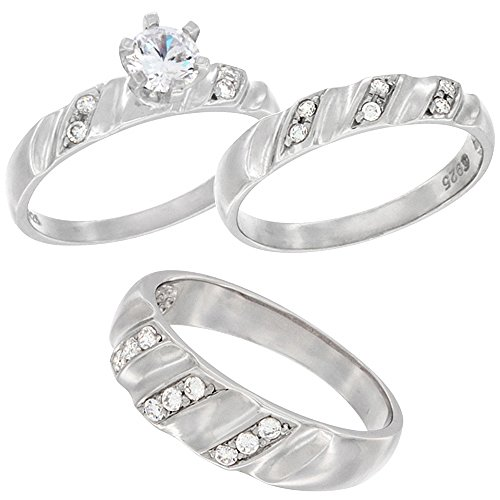 Sterling Silver Zirconia Engagement Vertical