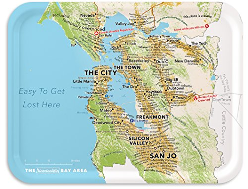 Trays4Us San Francisco Bay Area Humorous 16x12 inches (Large) Map Serving Tray - 70+ Different Designs -