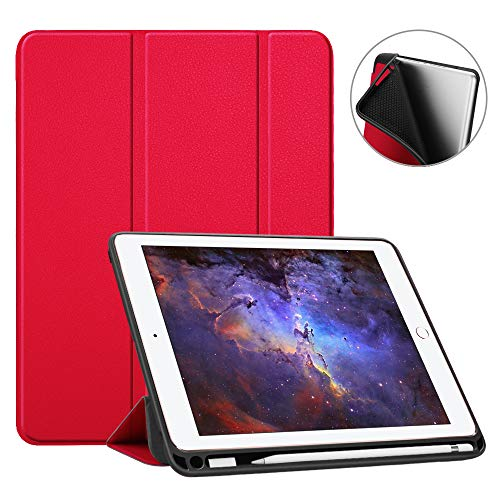 Fintie iPad 9.7 2018 Case with Built-in Apple Pencil Holder - [SlimShell] Lightweight Soft TPU Back Protective Stand Cover with Auto Wake/Sleep for Apple iPad 2018 9.7 Inch (6th Gen), Red