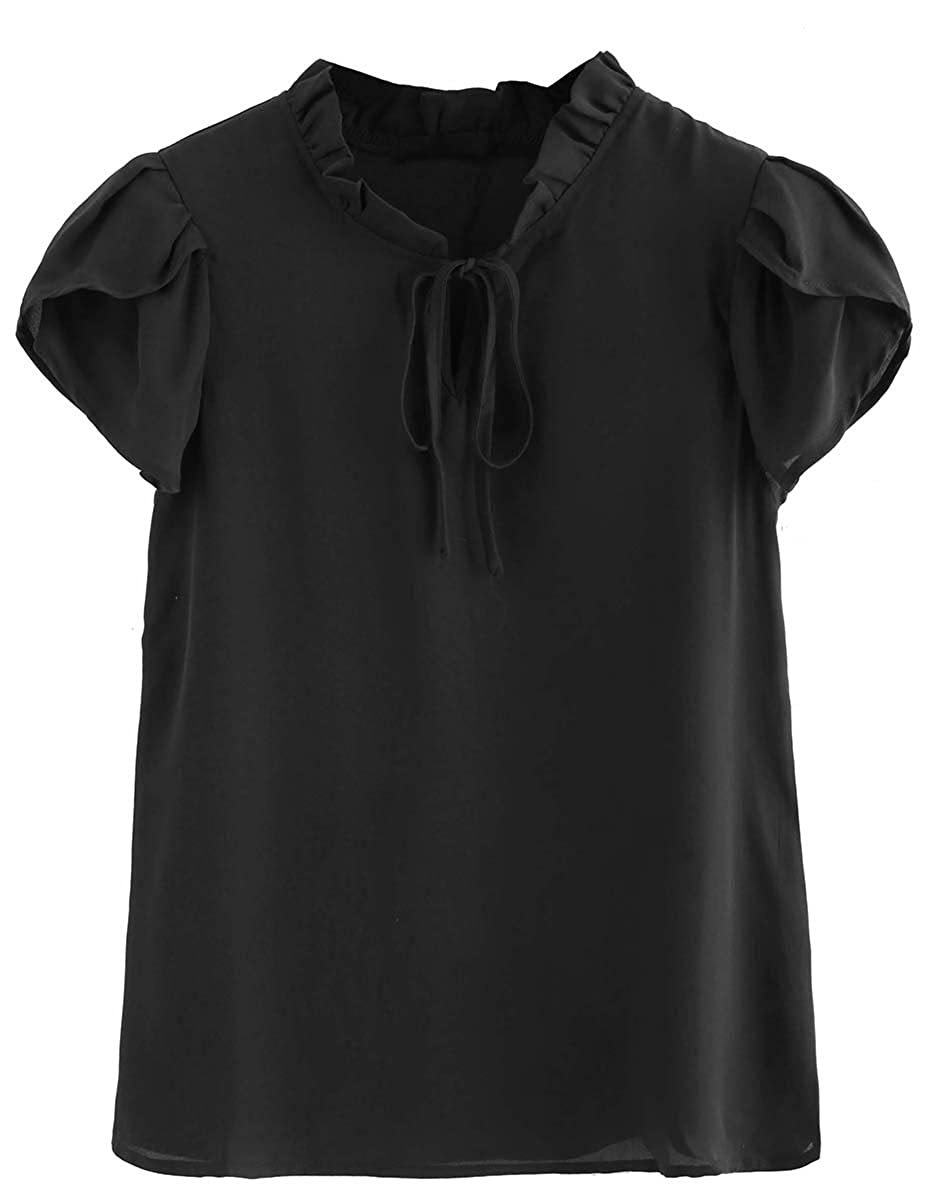 Black 11 Romwe Women's Casual Cap Sleeve Bow Tie Blouse Top Shirts