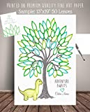 Tree Leaves Dinosaur Guest Registry Art Print, Personalized Nursery Art Print, Tree Leaf Sign in, Guest Book Poster DNR-LV