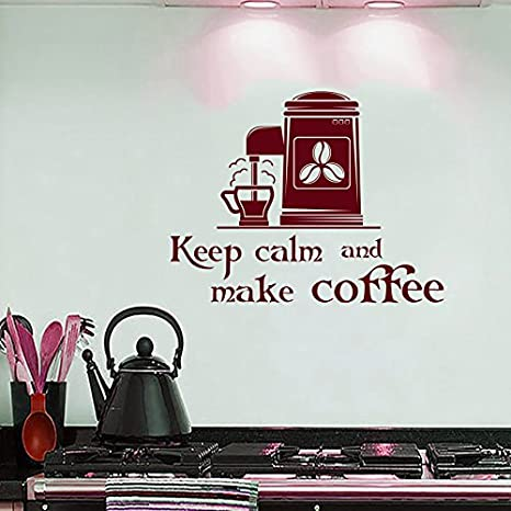 wall decals quotes keep calm and make coffee quote decal coffee