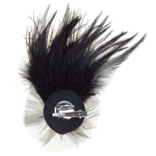 TOOGOO(R) Plume de paon Broche crane strass avec broche et pince de Crocodile Noir