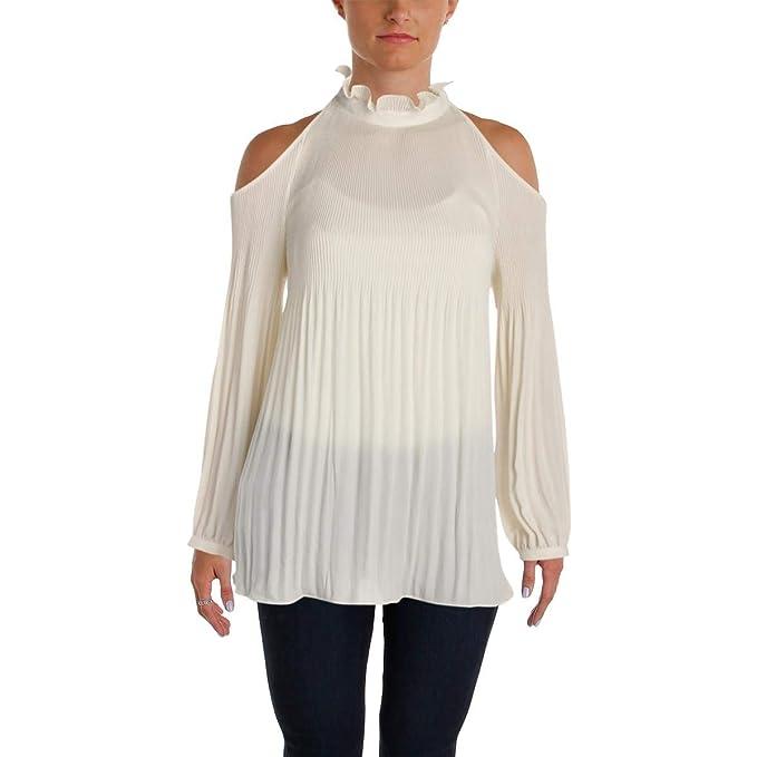843391ec6fa404 Lauren Ralph Lauren Womens Maratess Pleated Cold Shoulder Blouse   Amazon.ca  Clothing   Accessories