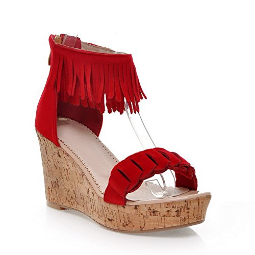 VogueZone009 Womens Open Toe High Heel Wedge Platform PU Frosted Solid Sandals with Tassels and Zipper Red f8rfRCR6