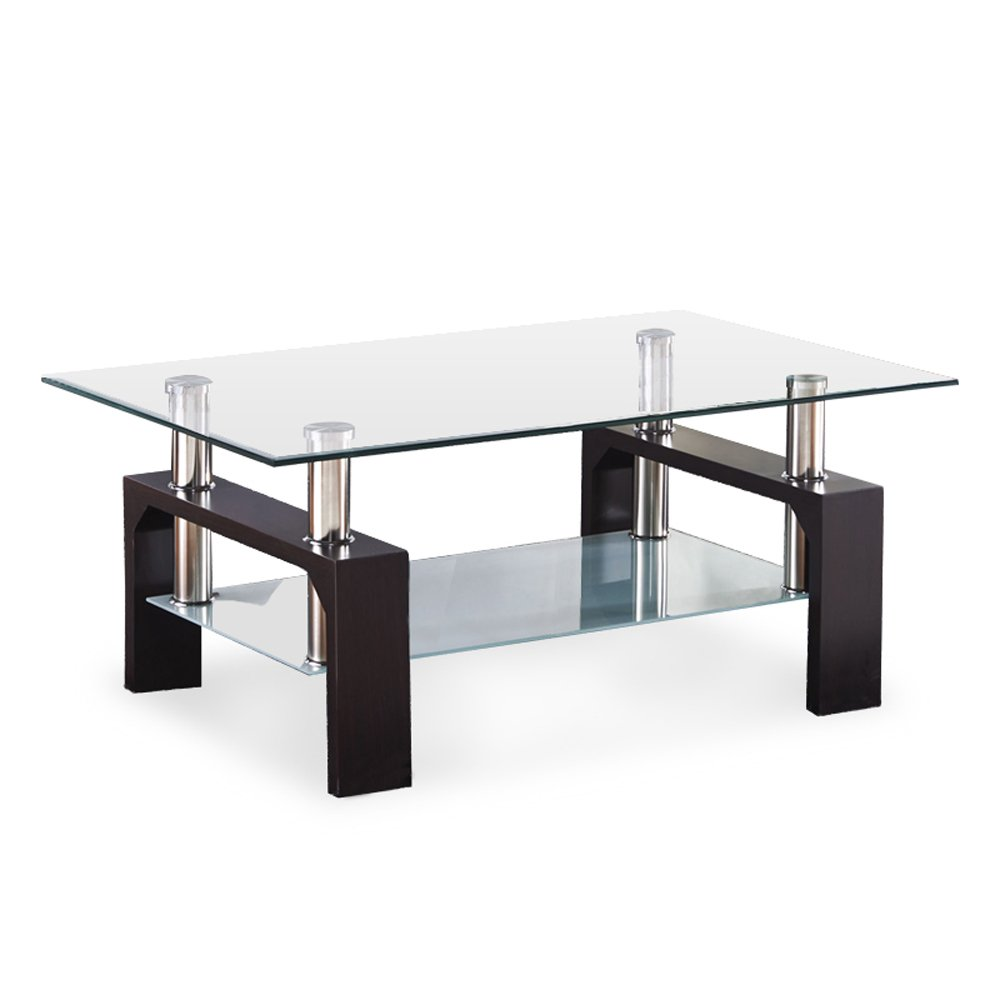 SUNCOO Coffee End Side Table with Shelves Living Room Furniture Rectangle Shape Clear Glass Top&Glossy Walnut Finih Legs