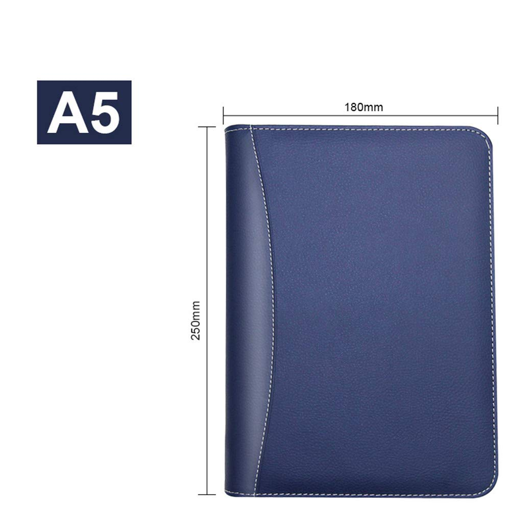 PU Leather Business A5 Notebook 90 Sheets Multi-Function Zip-Around Calendar Calculator Built-in Week Day to Page Memo Daily Diaries Wallet Manager Executive Compact Folder Red