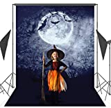 Halloween Backdrops with Photo Booth Props, 5X7ft Photography Background Halloween Horror Night Haunted House Studio Props Photo Backdrop Background - Bats in the Sky