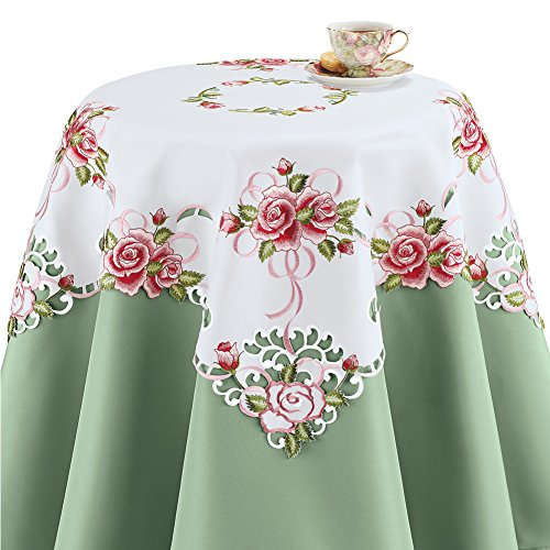 Collections Etc Table Topper with Embroidered Roses and Lace Square, Square