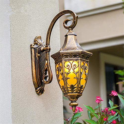 Wall Lights Outdoor Creative Vintage European Style Glass Shade Die-Cast Aluminum Outside Waterproof Antique Copper Color Lantern Wall Sconce E27 Socket for Garden, Fence, Door,Yard or Entrance