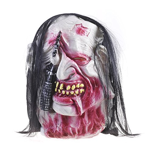 Burnt Zombie Costumes For Adults (Kloud City Latex Demon Facial Mask Pullover Horror Full Head Costume Mask with Hair Halloween Masquerade Dress-Up Party Props)